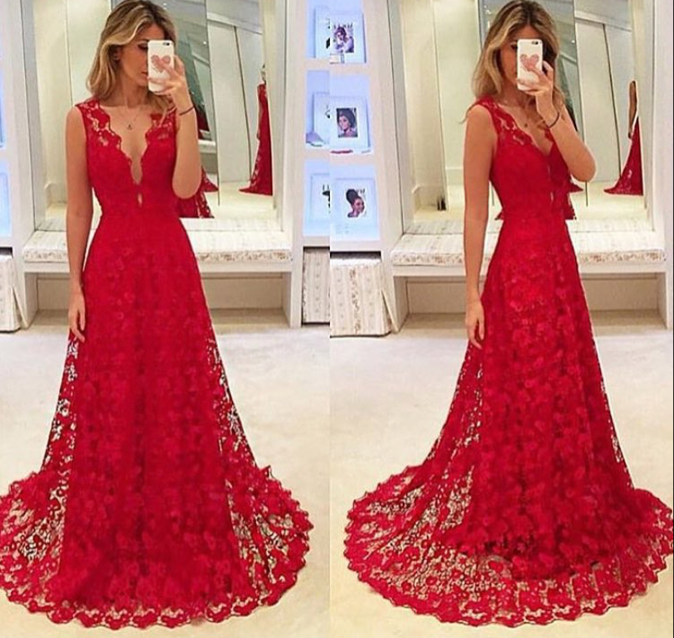 722b90890b9 Elegant Red Lace Deep V Neck A Line Formal Prom Gown With Small Sweep Train